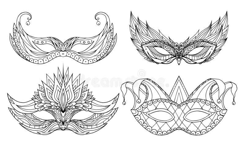 Grupo de máscaras desenhados à mão do feriado da cara da garatuja ilustração stock