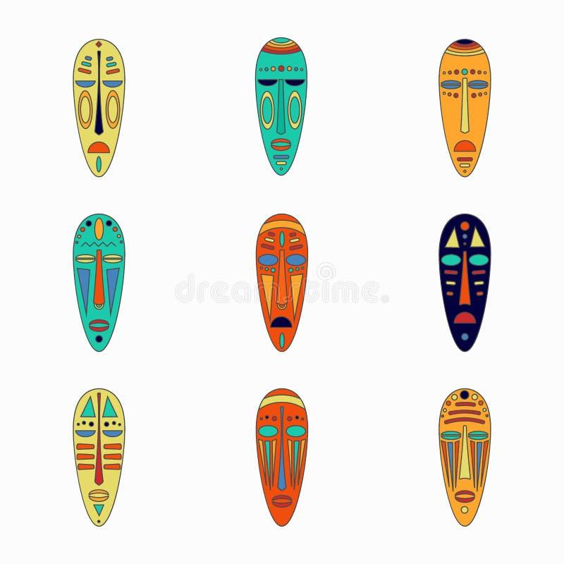 Grupo de máscaras nacionais coloridas do africano do ethnick foto de stock
