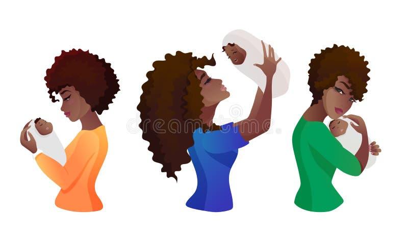 Grupo de mães novas com o bebê nas mãos ilustração stock