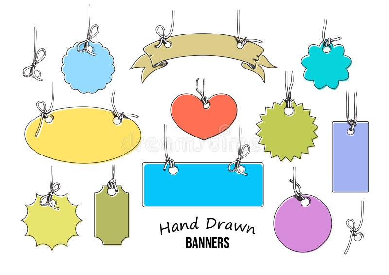 Grupo de 11 mão colorida etiquetas tiradas e bandeiras de várias formas Vetor ilustração do vetor