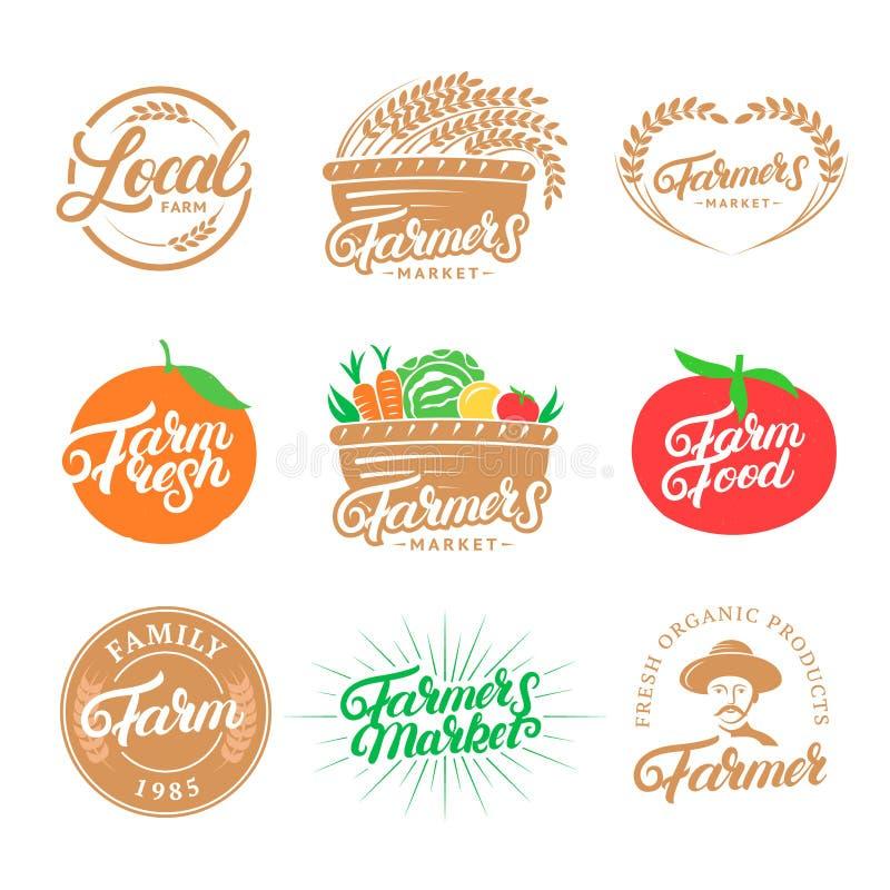 Grupo de mão de exploração agrícola escrito rotulando logotipos, etiquetas, crachás, emblemas para o mercado dos fazendeiros, ali ilustração do vetor
