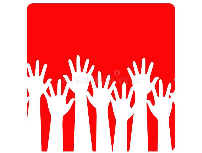 Grupo de mãos de ondulação ilustração do vetor
