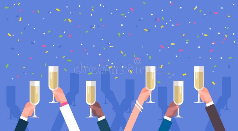 Grupo de mãos do homem de negócio que guardam Champagne Glasses ilustração royalty free
