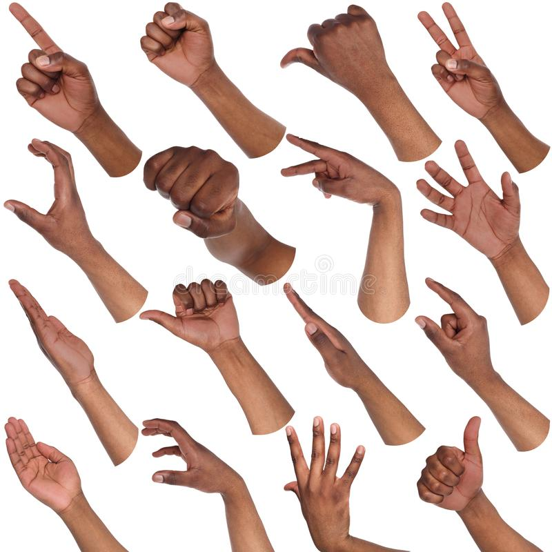 Grupo de mãos masculinas pretas que mostram símbolos foto de stock royalty free