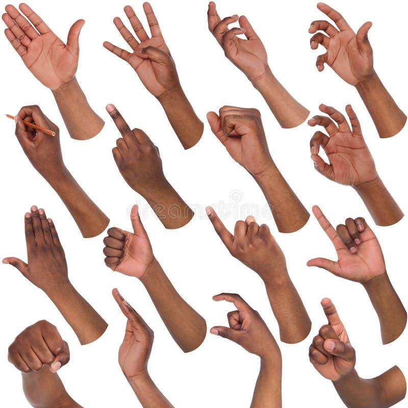 Grupo de mãos masculinas pretas que mostram símbolos imagens de stock royalty free