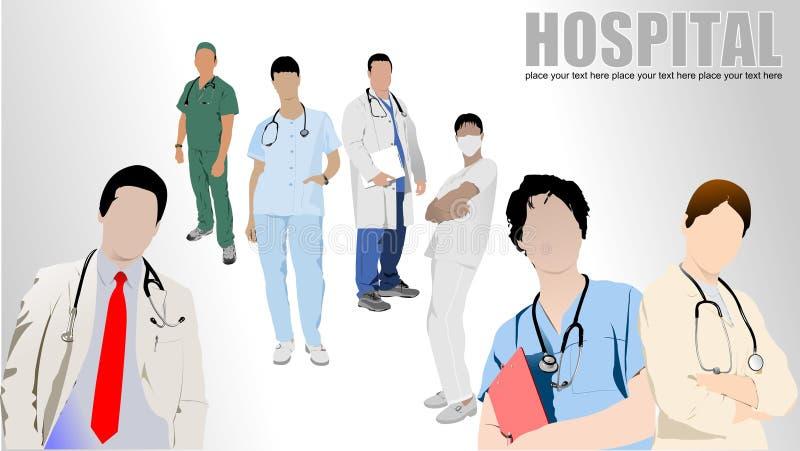 Grupo de médicos y de enfermera en hospital libre illustration