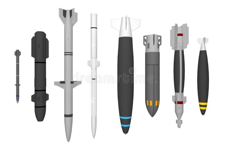 Grupo de mísseis militares diferentes isolados no branco ilustração do vetor