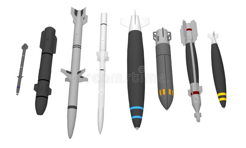 Grupo de mísseis militares diferentes isolados no branco imagens de stock royalty free