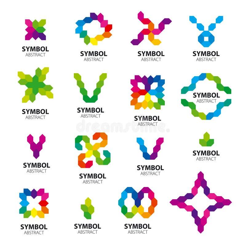 Grupo de módulos abstratos dos logotipos do vetor ilustração stock