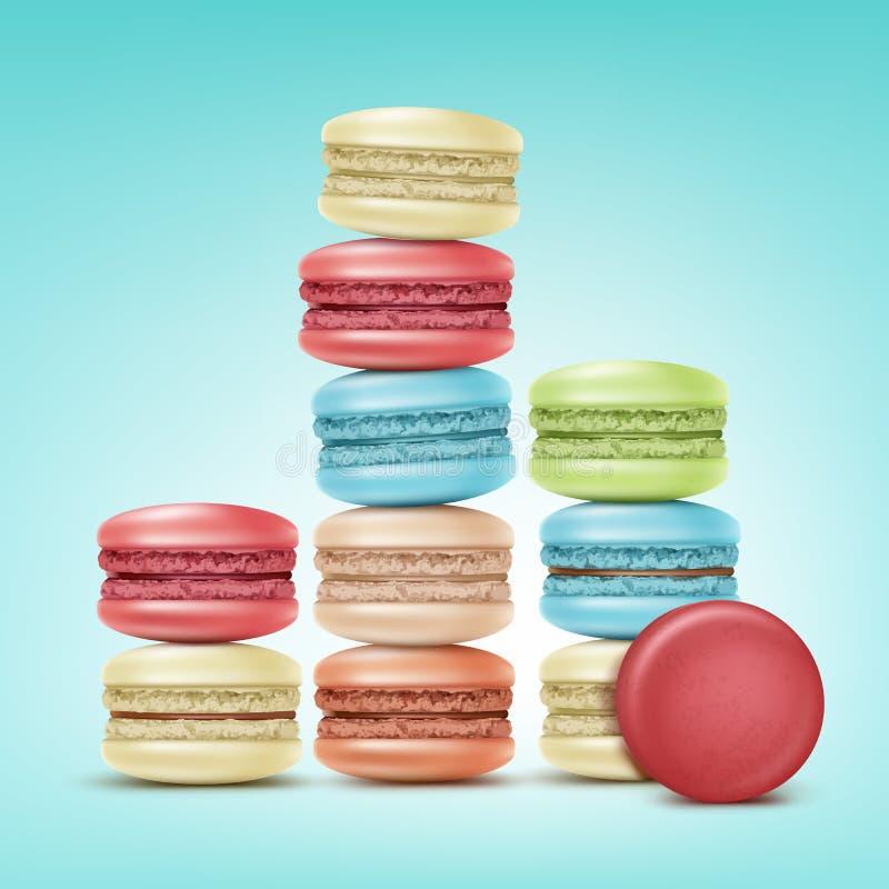 Grupo de Macarons ilustração stock