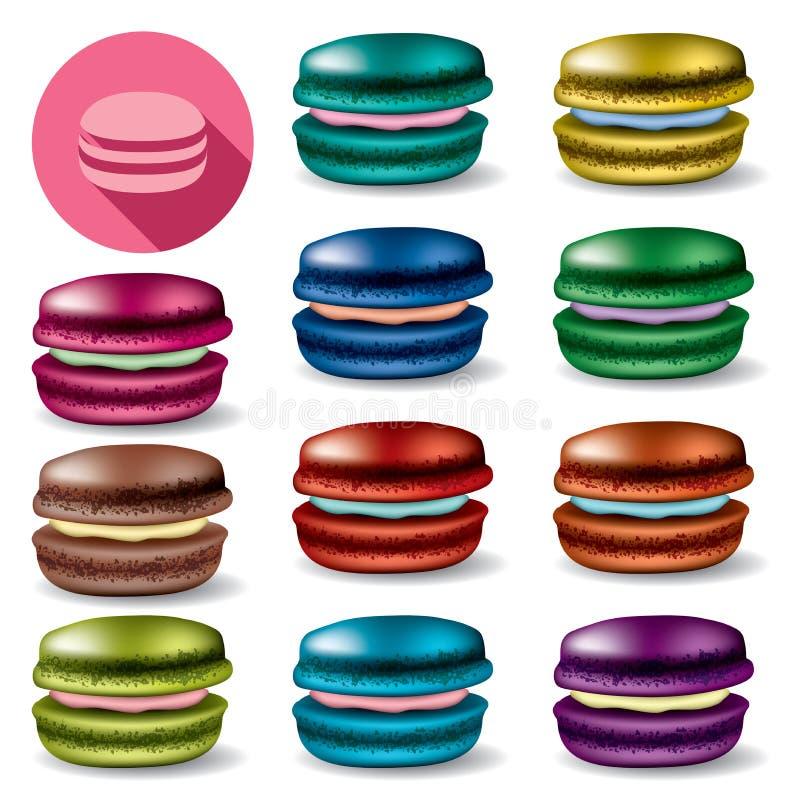 Grupo de macarons coloridos ilustração royalty free