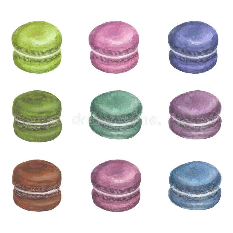 Grupo de macarons coloridos da aquarela imagem de stock