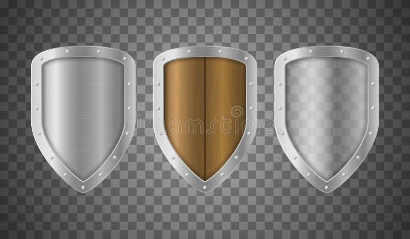 Grupo de madeira 3d e transparente metálico detalhado realístico dos protetores Vetor ilustração stock