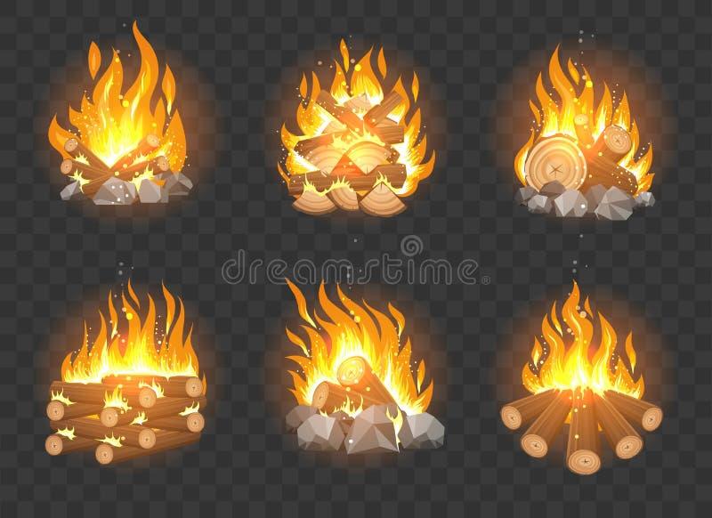 Grupo de madeira da fogueira ilustração royalty free