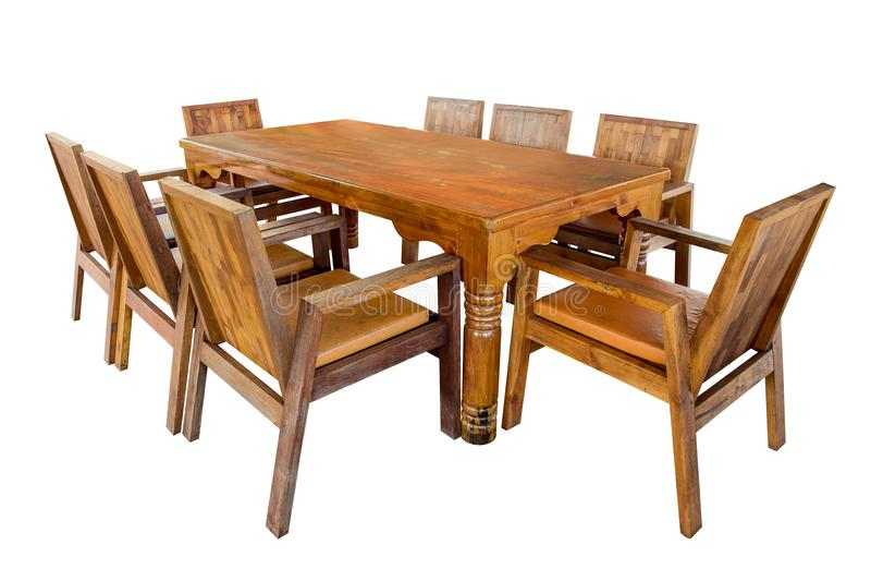 Grupo de madeira da mesa de jantar isolado foto de stock