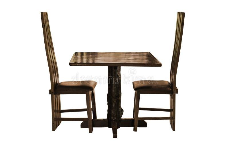 Grupo de madeira da mesa de jantar isolado fotos de stock royalty free