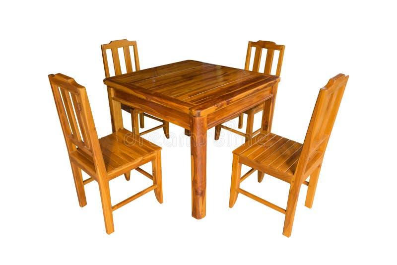 Grupo de madeira da mesa de jantar isolado imagem de stock
