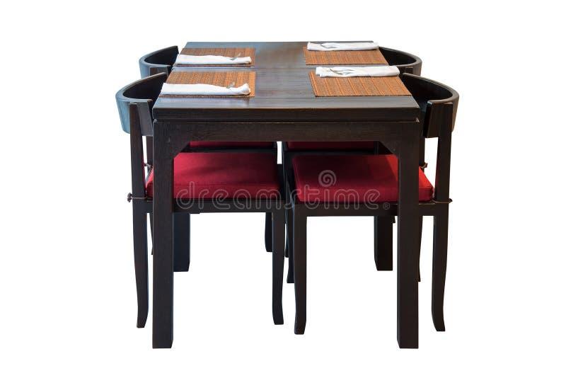 Grupo de madeira da mesa de jantar isolado imagem de stock royalty free