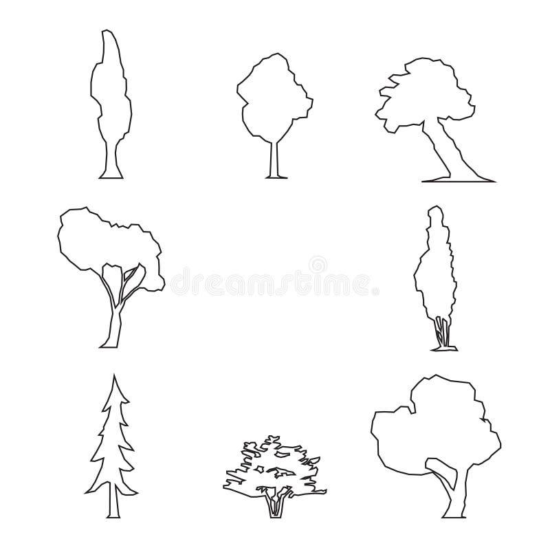 Grupo de madeira do esboço ilustração royalty free