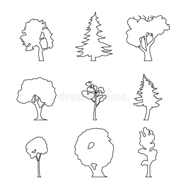 Grupo de madeira do esboço ilustração stock