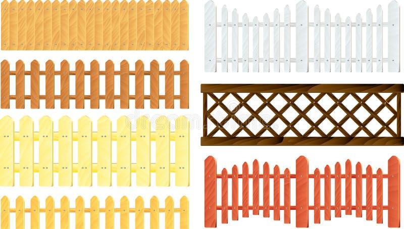 Grupo de madeira do vetor das cercas ilustração do vetor
