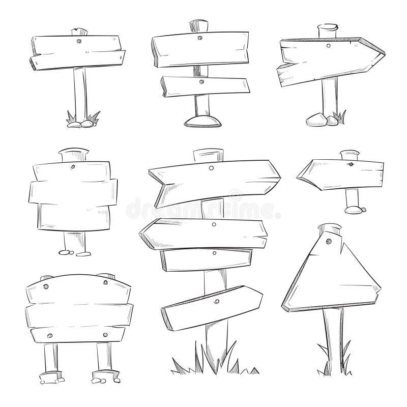 Grupo de madeira do vetor dos sinais da estrada da garatuja dos desenhos animados ilustração do vetor