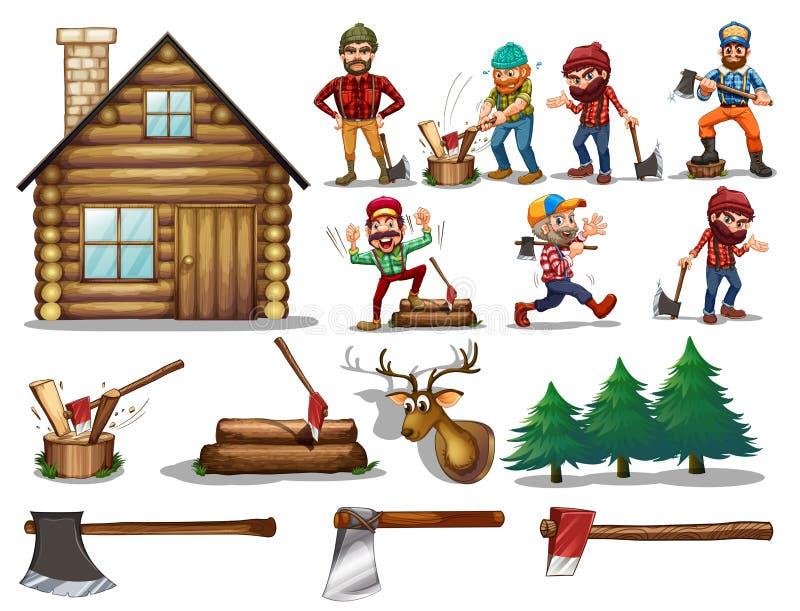 Grupo de madeira serrada ilustração royalty free