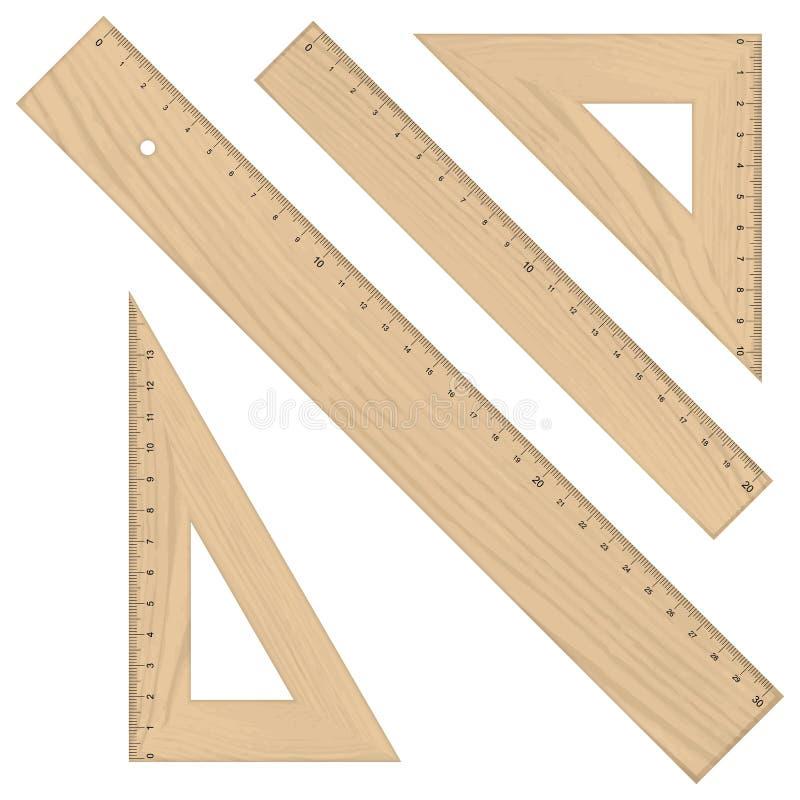 Grupo - de madeira triangular das réguas ilustração royalty free
