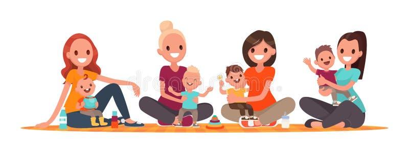 Grupo de madres con los bebés Club de madres jovenes Las mamás se están sentando con los niños libre illustration