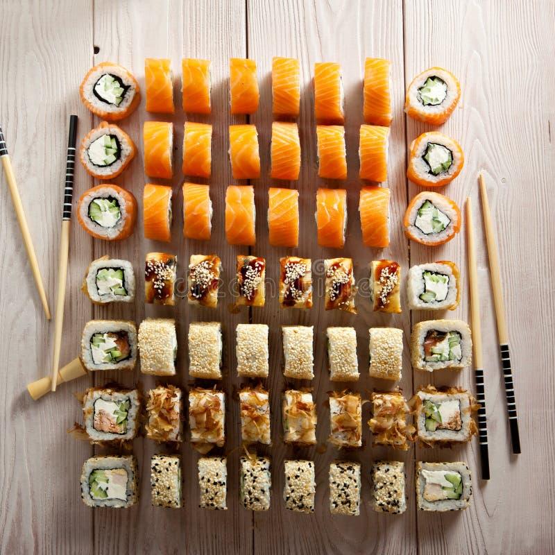 Grupo de Maki Sushi imagem de stock