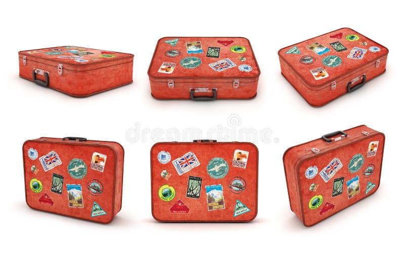 Grupo de malas de viagem do curso com etiquetas ilustração do vetor