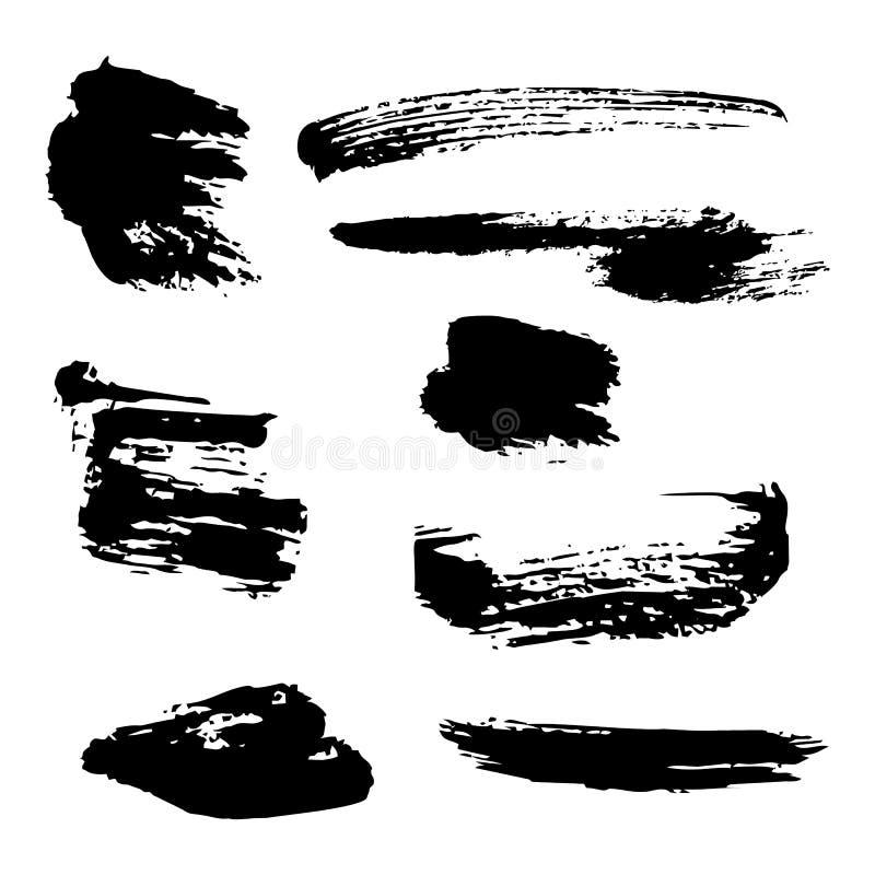 Grupo de manchas de tinta preta do vetor ilustração royalty free