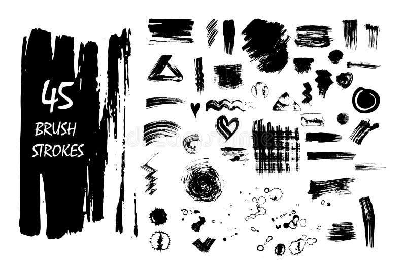 Grupo de manchas de tinta preta e de cursos do vetor ilustração do vetor