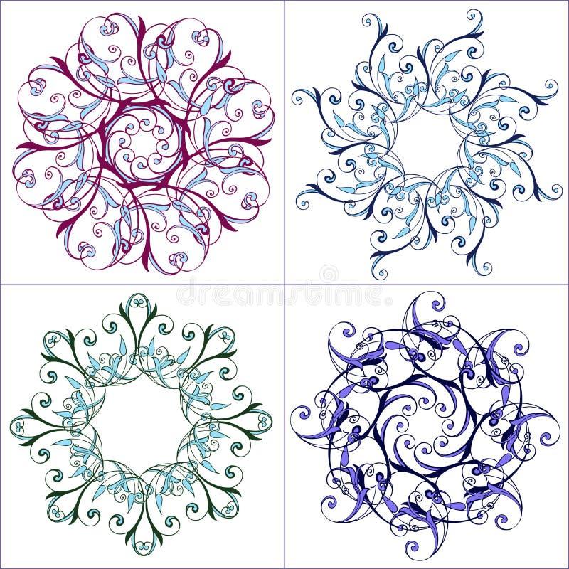 Grupo de mandalas coloridas Teste padrão floral redondo decorativo Mandala esplêndida do vetor no azul ilustração stock