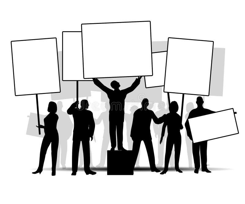 Grupo de manifestantes con las muestras stock de ilustración