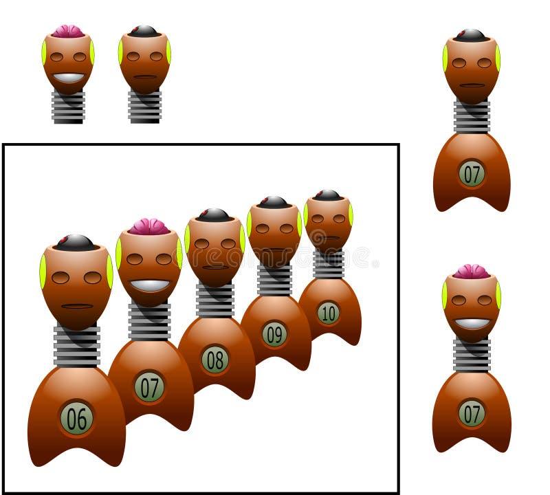 Grupo de maniquíes para la prueba del desplome ilustración del vector