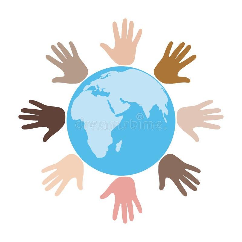 Grupo de manos de diversos colores y nacionalidades con un globo Gente del mundo libre illustration