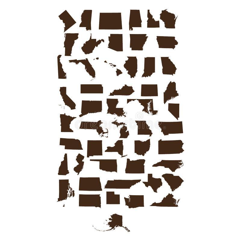 Grupo de mapas dos estados de E.U. ilustração stock