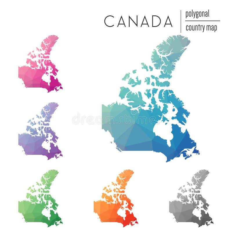 Grupo de mapas poligonais de Canadá do vetor ilustração do vetor