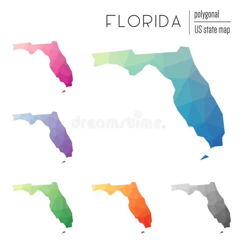 Grupo de mapas poligonais de Florida do vetor ilustração royalty free