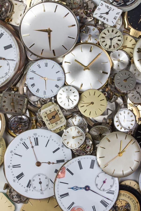 Grupo de maquinismo de relojoaria do relógio de bolso foto de stock royalty free