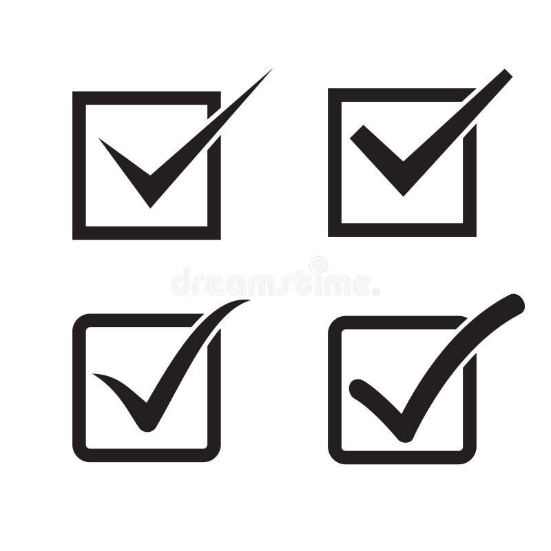 Grupo de marca de verificação, caixa de verificação ilustração stock