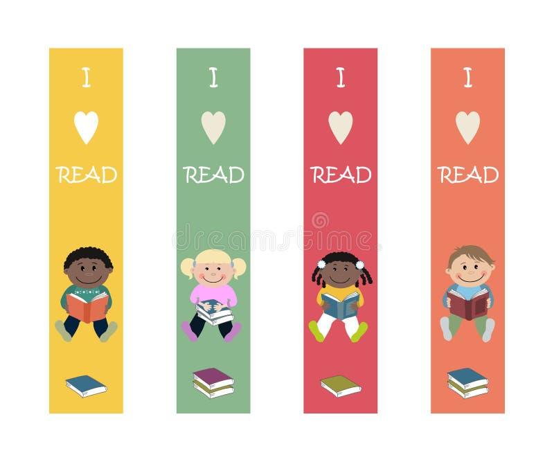 Grupo de marcador coloridos com imagens das crianças Amostras imprimíveis ilustração royalty free
