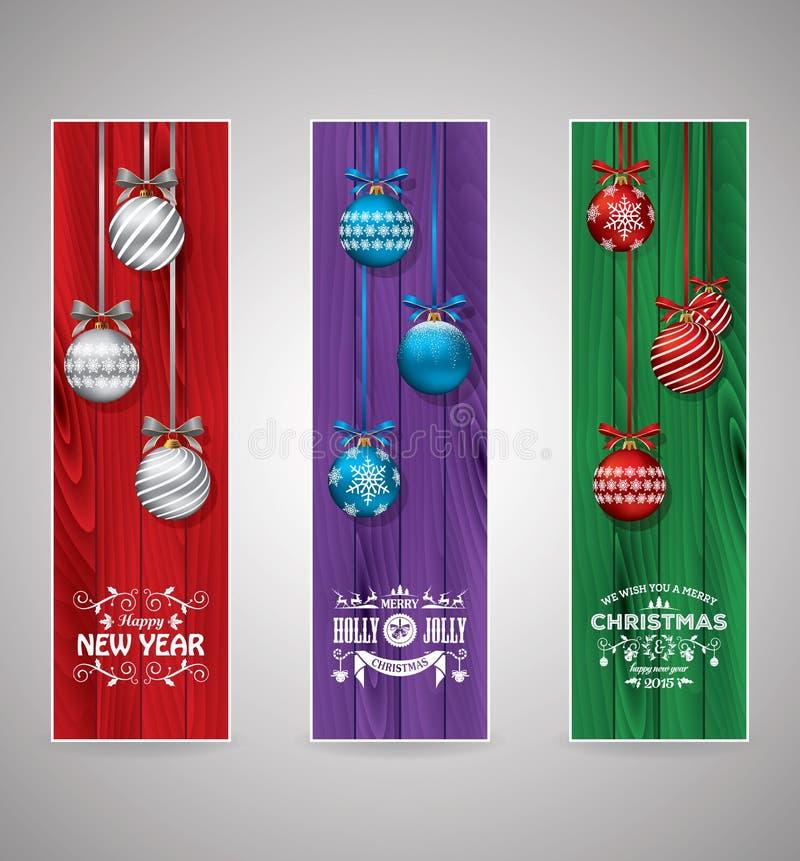 Grupo de marcador do cumprimento do Natal ilustração stock