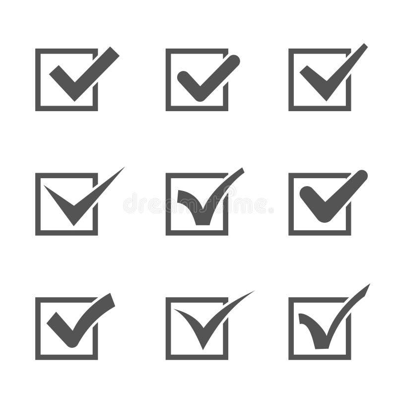 Grupo de marcas de verificação diferentes em umas caixas ilustração stock