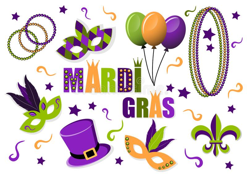 Grupo de Mardi Gras do carnaval de ícones do vetor máscaras Chapéu balões grânulos Flor de lis Mardi Gras Carnaval Terça-feira go ilustração royalty free