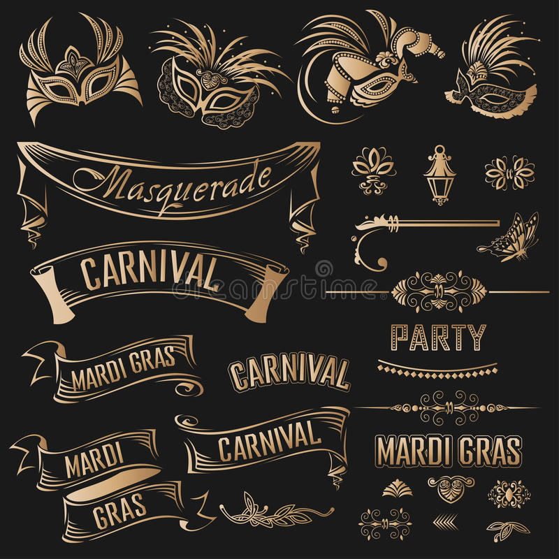 Grupo de Mardi Gras Vintage foto de stock