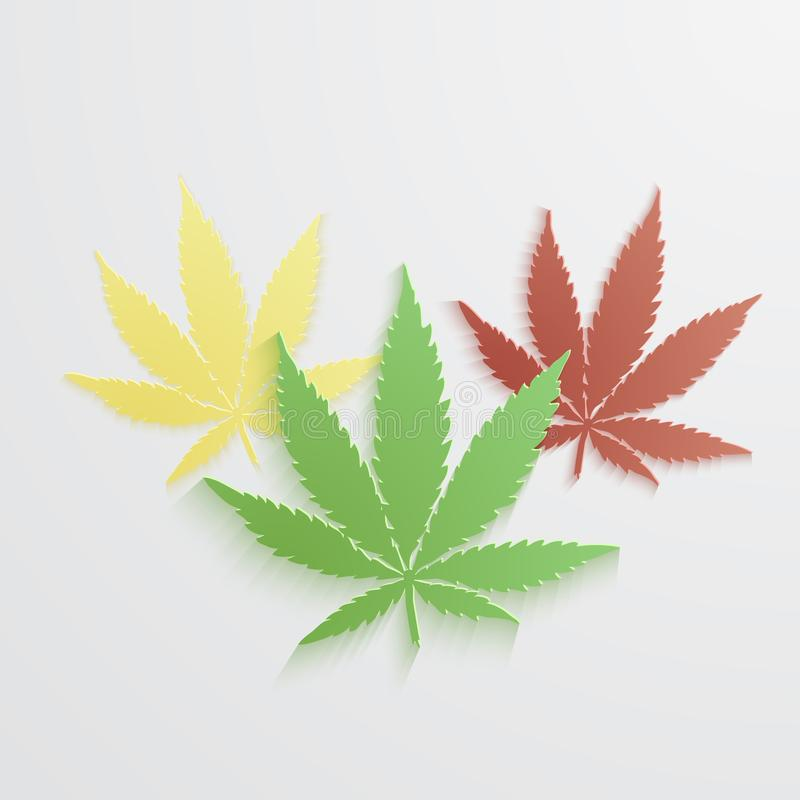 Grupo de marijuana ou de folha do vetor do cannabis ilustração stock