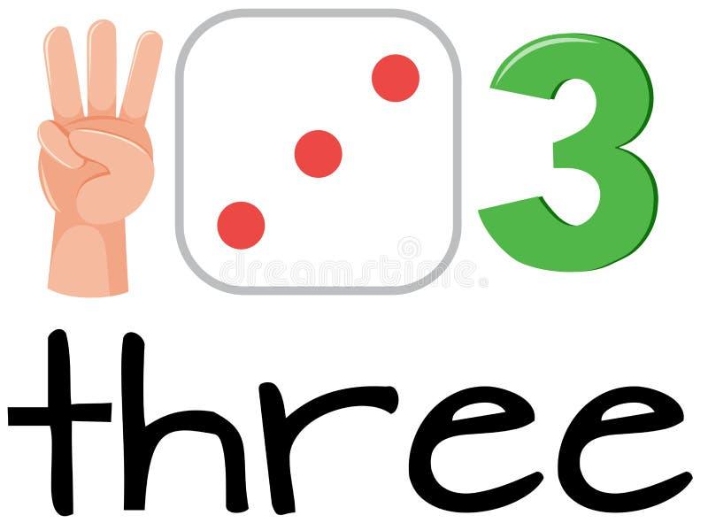 Grupo de matemática que conta o número três ilustração stock
