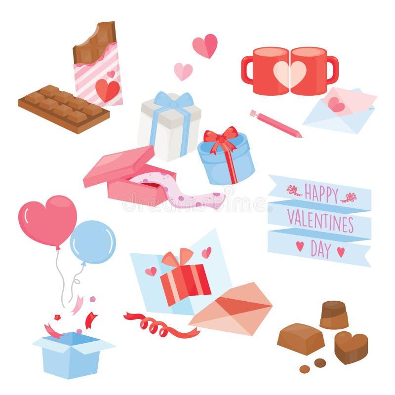Grupo de materiais coloridos do Valentim Ilustração do vetor ilustração royalty free